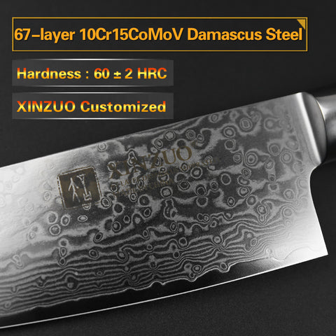 Image of Cleaver Pro Chef Knife Damascus Steel with Pakka Wood Handle