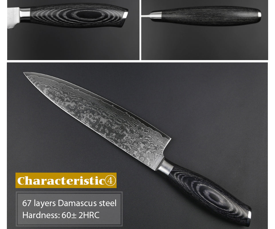 Cleaver Pro Chef Knife Damascus Steel with Pakka Wood Handle
