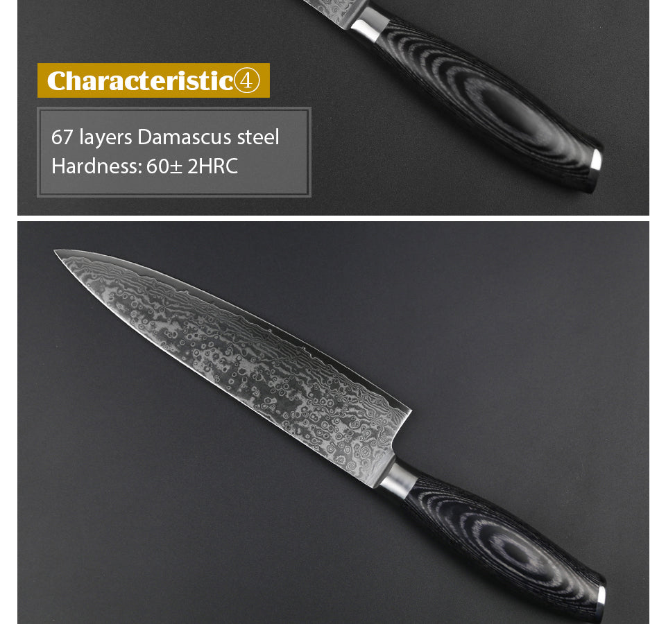 2 pcs Wood-X Handle Knife Set Damascus Steel with Pakka Wood Handle
