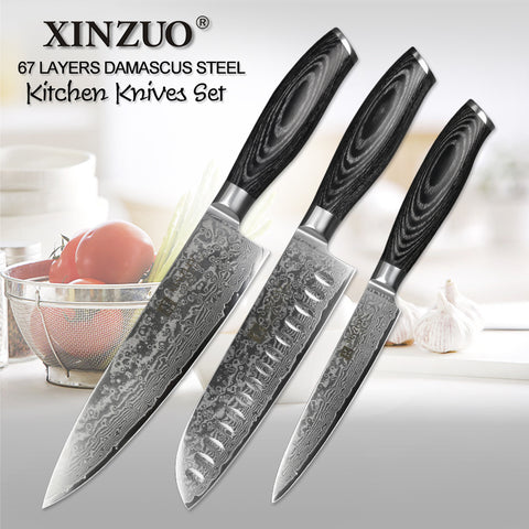 3 pcs Goneril Knives Set Damascus Steel with Pakka Wood