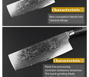 Meat Cleaver Knife Damascus Steel with Pakka Wood Handle