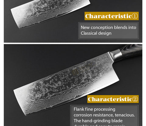 Image of Meat Cleaver Knife Damascus Steel with Pakka Wood Handle