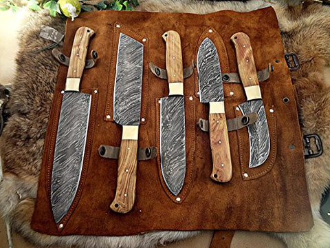 Image of Kitchen Chef Knife Set 12 - Olive Wood Handle