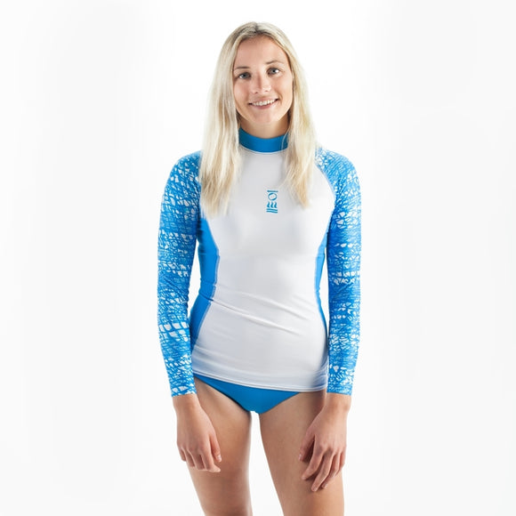 OCEAN POSITIVE WOMEN'S HYDROSKIN LONG SLEEVE Blue/White