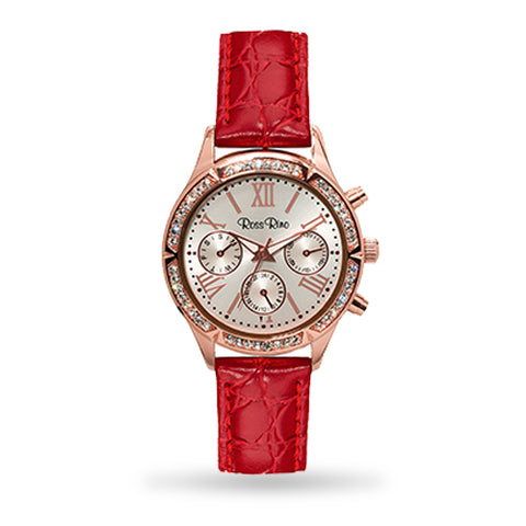 The Pegasus - Elegant Rose Dual Time Ladies Leather