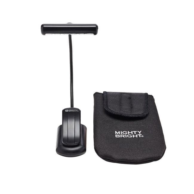 HammerHead Music Stand Light by Mighty Bright - front view with gig bag