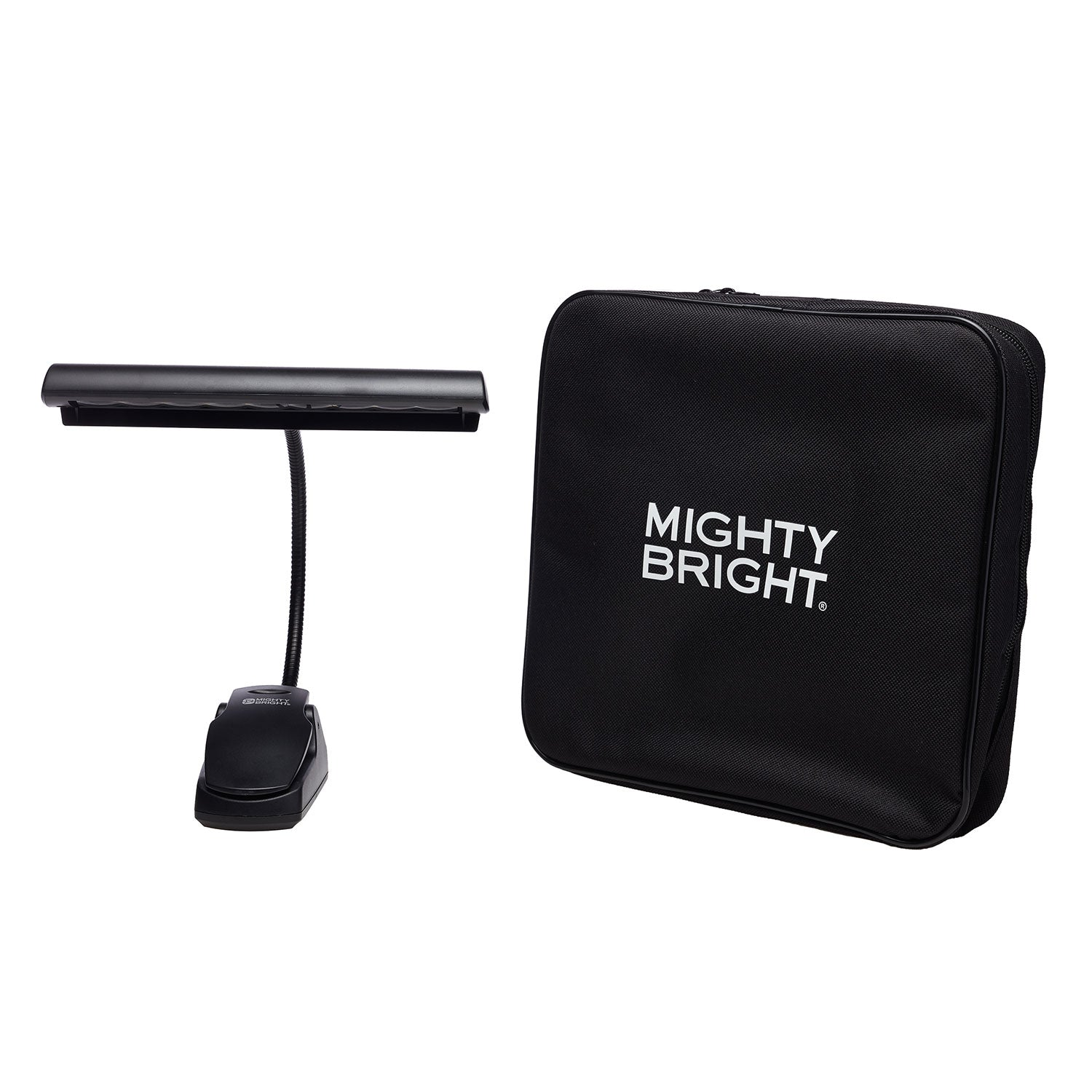 Orchestra Music Stand Light with AC Adapter and Gig Bag by Mighty Bright - front view with gig bag