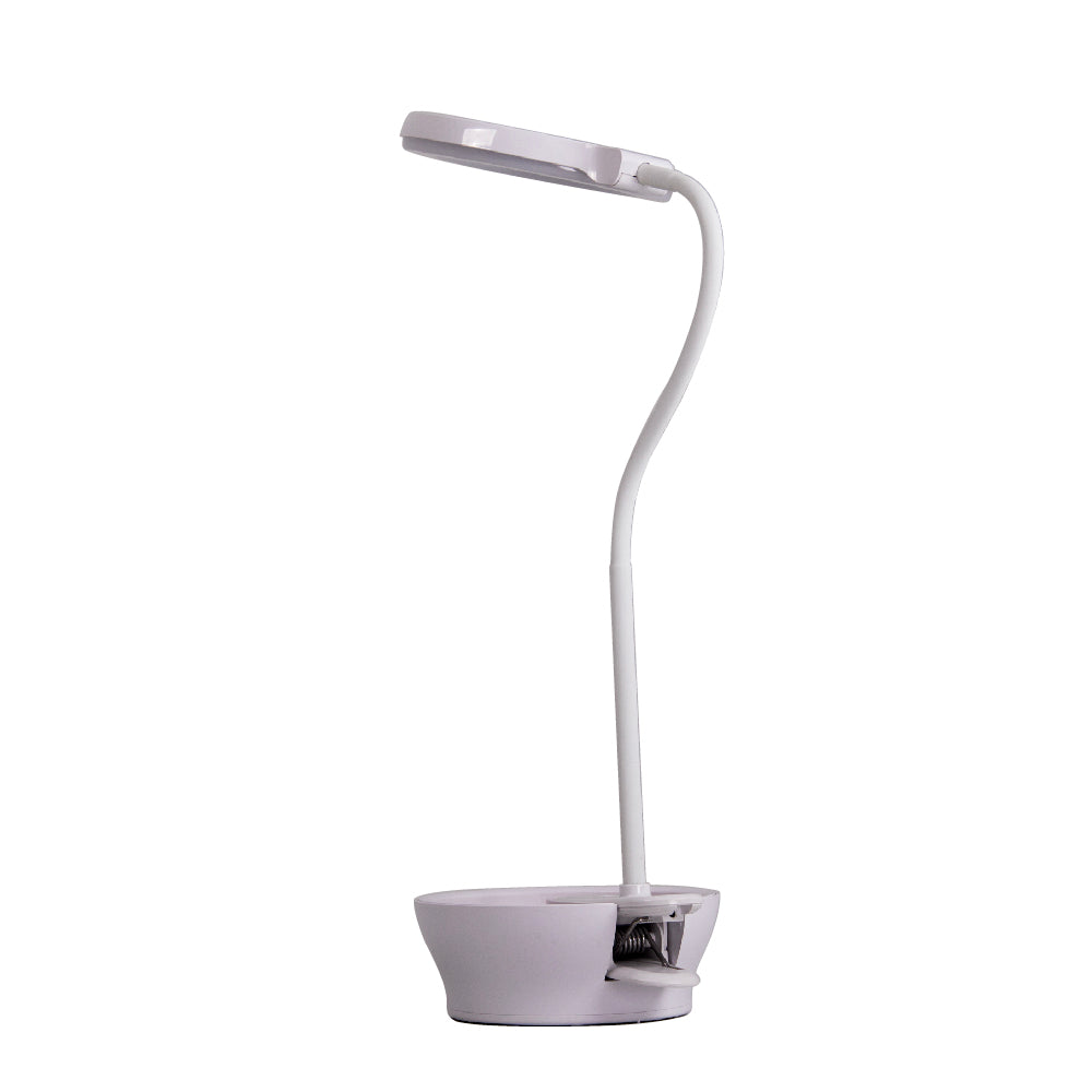 LED Task Light and Magnifier Table Lamp w/ Pincushion Base