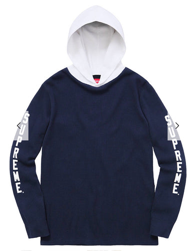 "48e6733b9dd0 Supreme Waffle Thermal Hoodie ""Navy"" - XL - Theshuniversity"