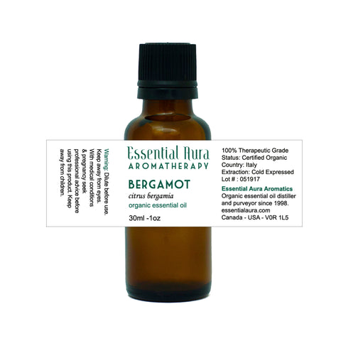 bergamot essential oil in bottle