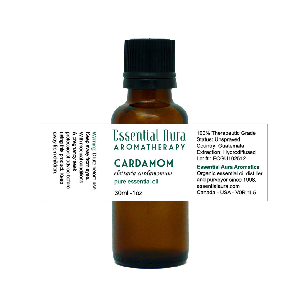 organic cardamom essential oil in bottle