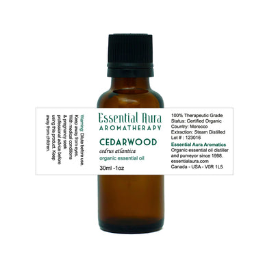 cedarwood essential oil in bottle