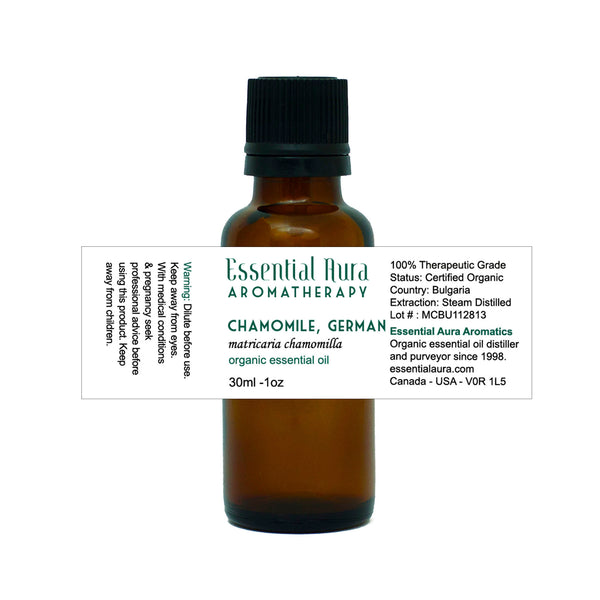 chamomile essential oil in bottle
