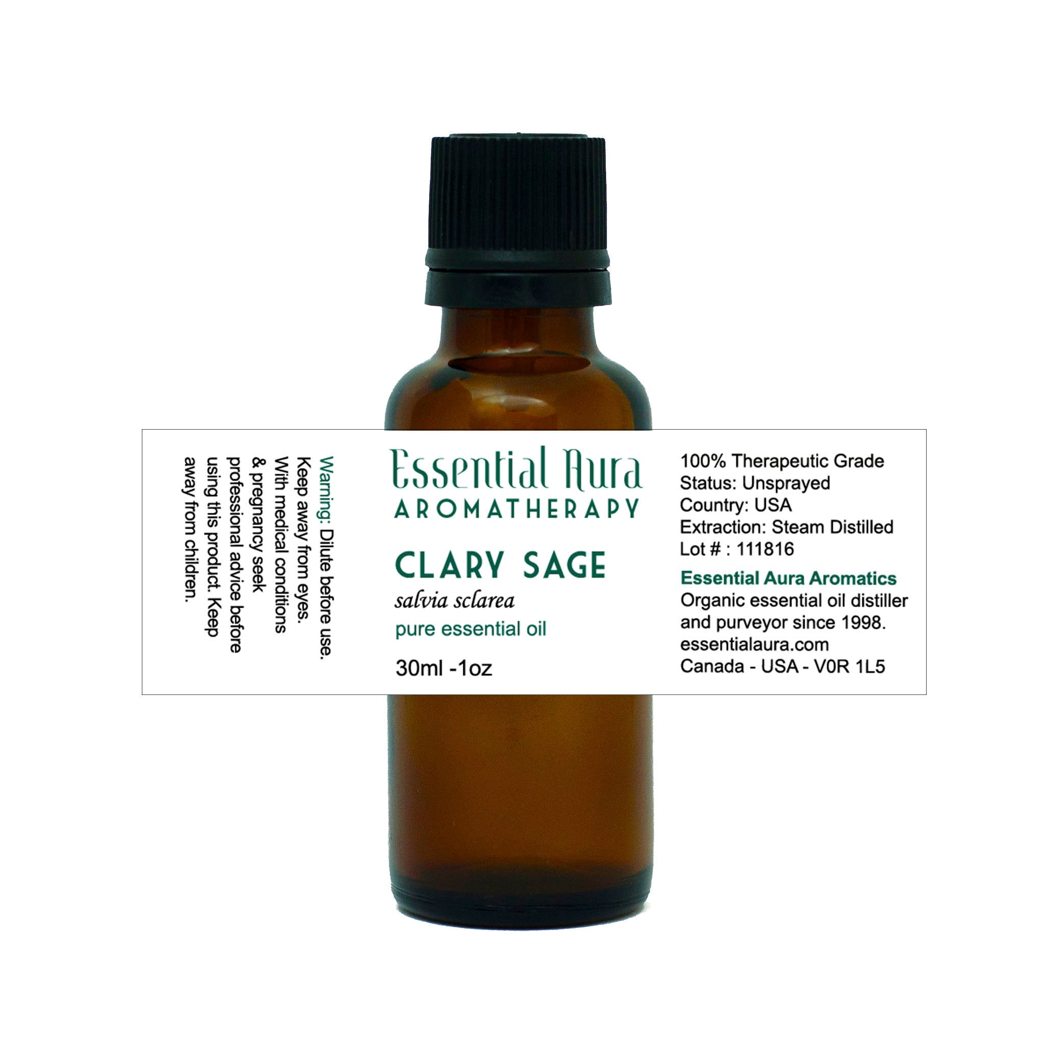 clary sage essential oil in bottle