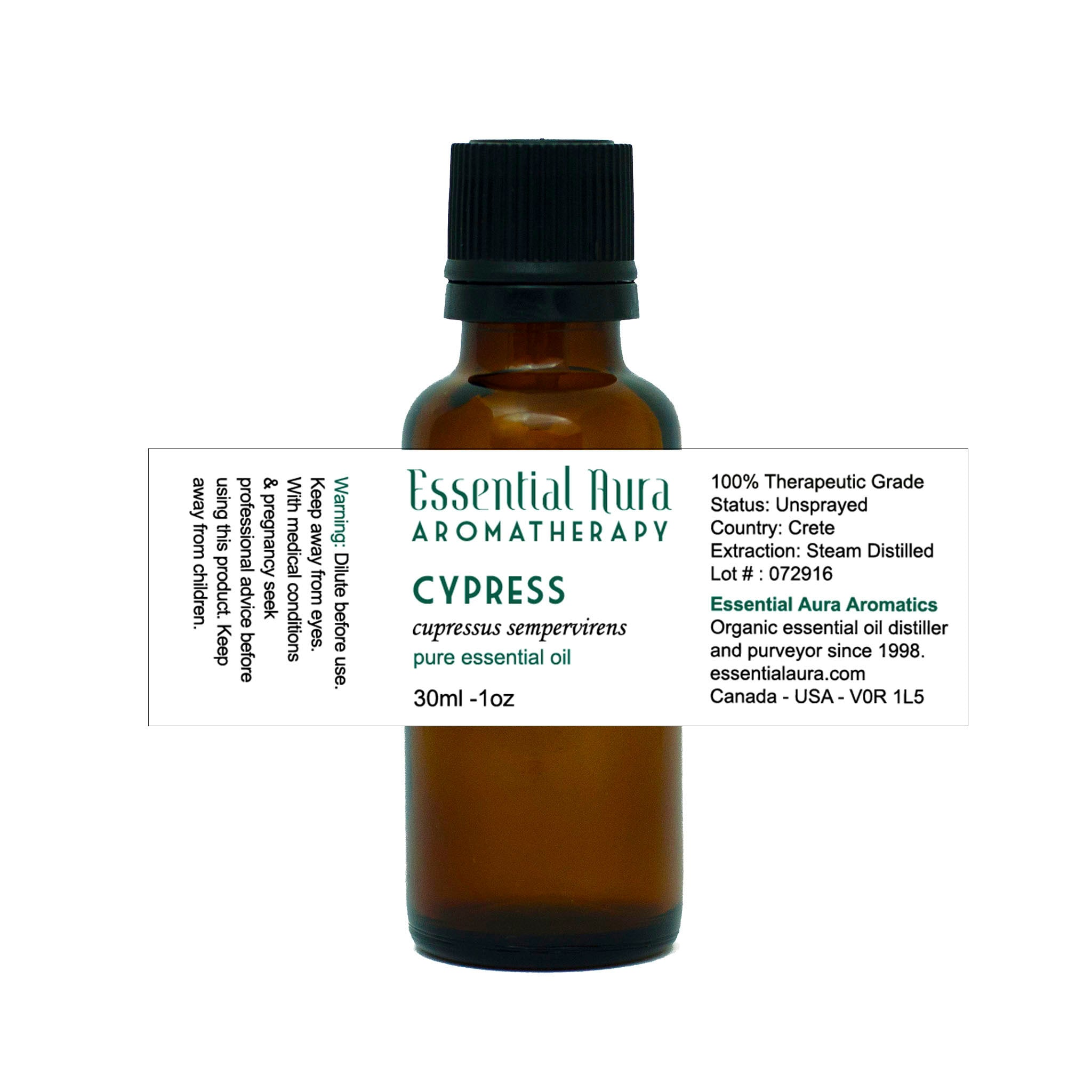 bottle of cypress essential oil