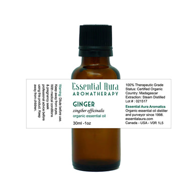 bottle of ginger essential oil