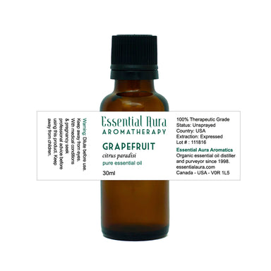 bottle of grapefruit essential oil