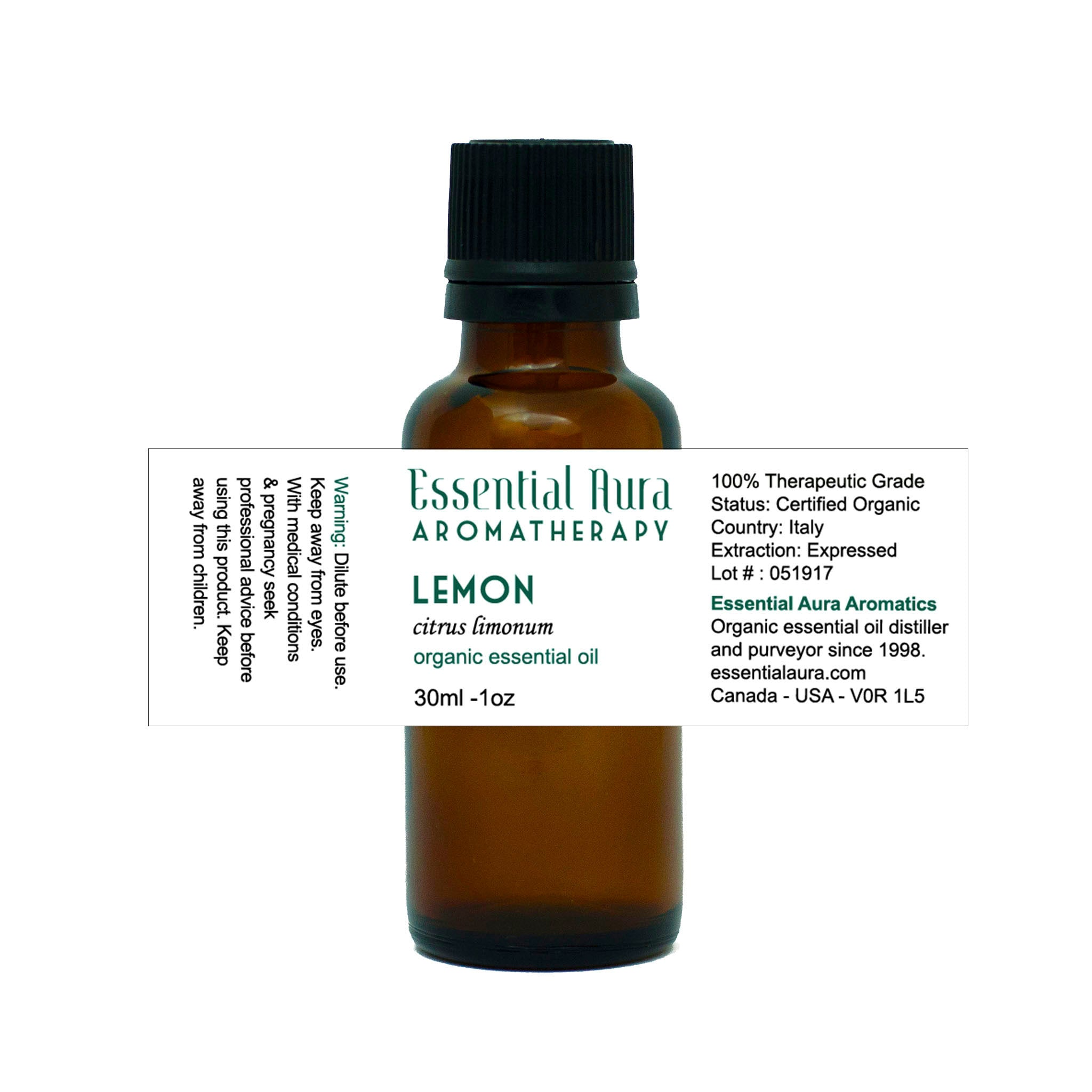 bottle of Lemon Essential Oil