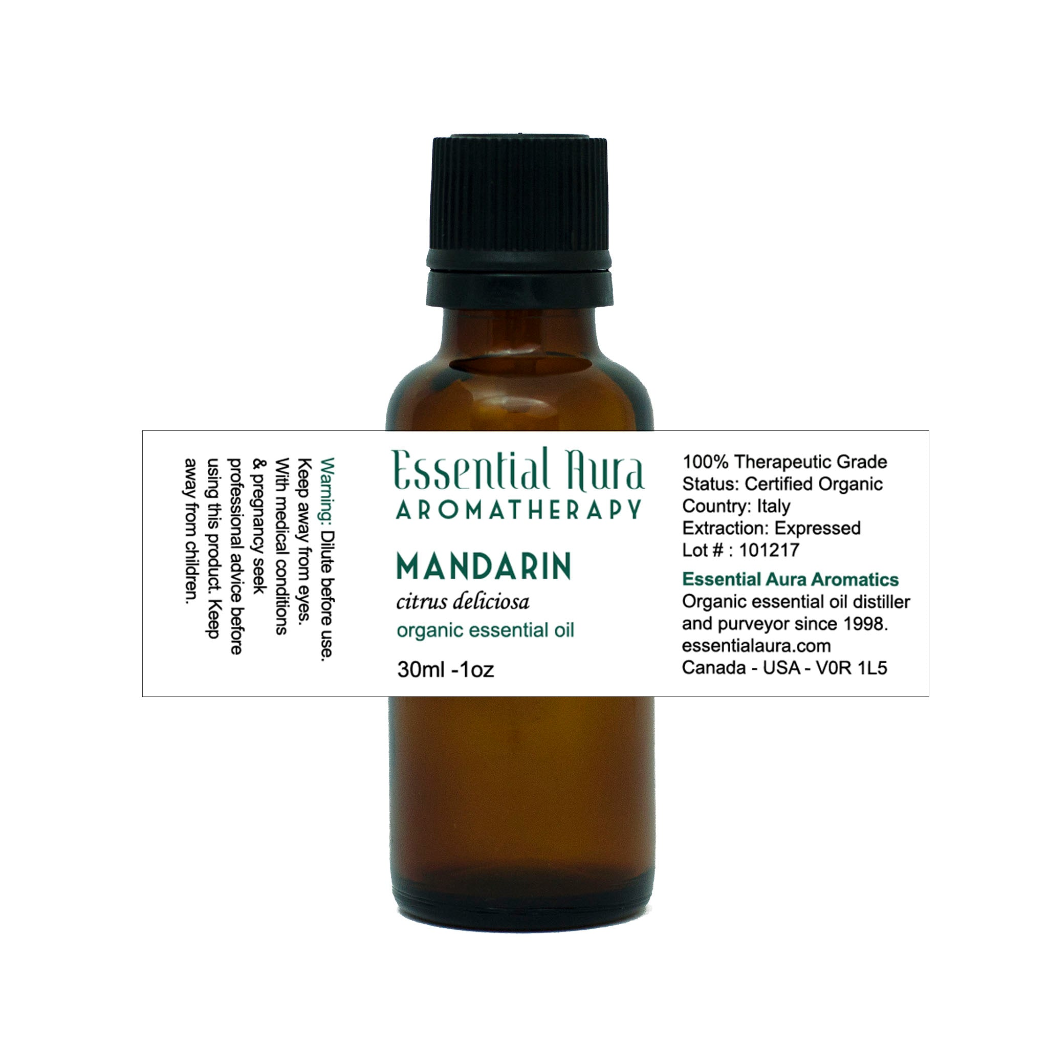 bottle of Mandarin Essential Oil