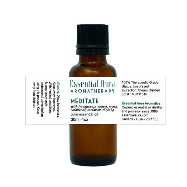 bottle of Meditate essential oil Blend