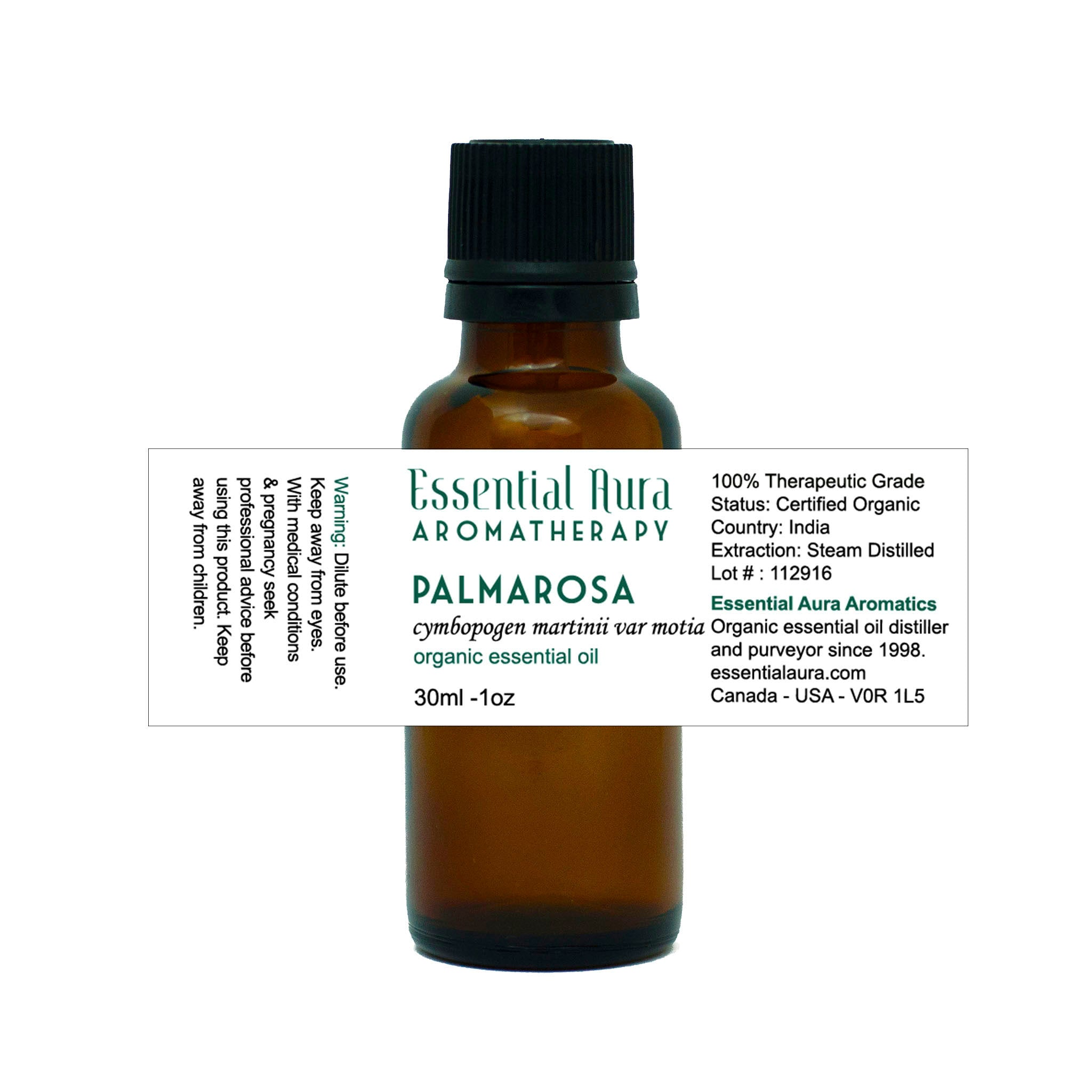 bottle of Palmarosa Essential Oil