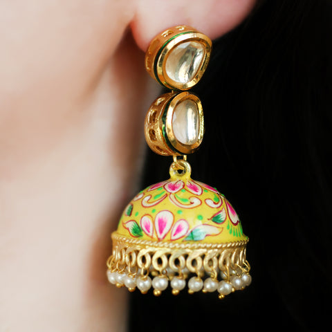 Yellow Kundan Hand Painted Jhumke Earrings