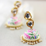 White Kundan Hand Painted Jhumke Earrings