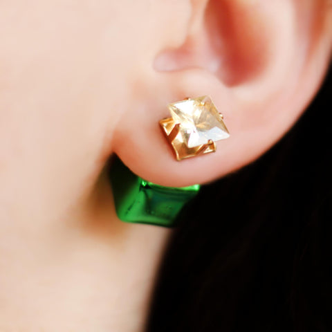 Double Sided Green Earring