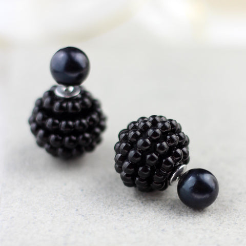 Black Beaded Double Sided Earring