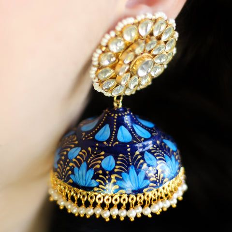 Statement Blue Painted Jhumke