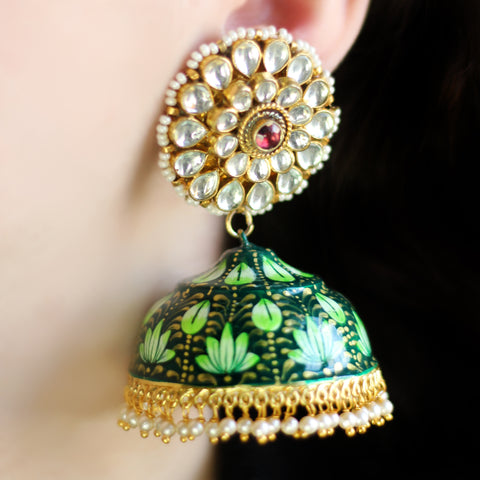 Statement Green Painted Jhumke