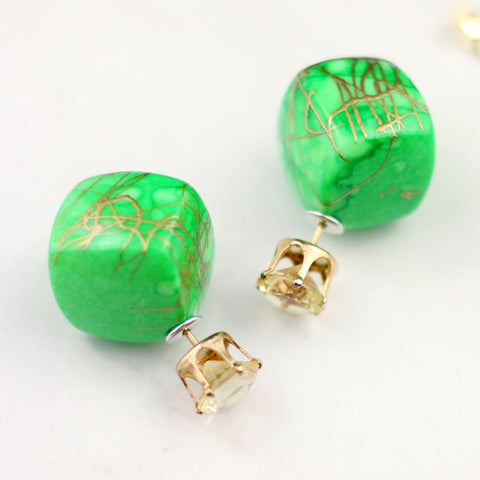 Green Drip Double Sided Earring