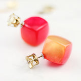 Orange Red Double Tone Double Sided Earrings