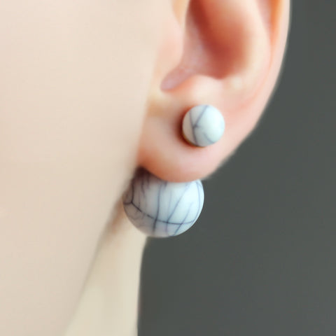 Blue Marble Reversible Earrings