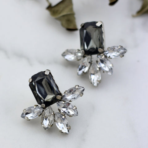 Rhinestone Flower Drop Earring