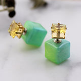 Two Tone Double Sided Square Earrings