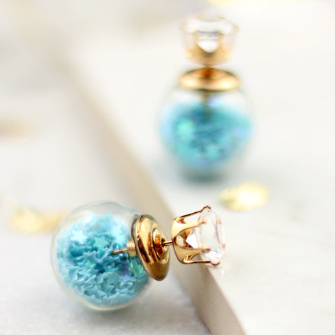 Star Confetti Sky Blue Double Sided Earring