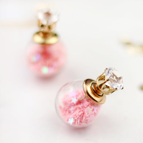 Star Confetti Pink Double Sided Earring