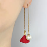 Rose Pearl Red Dangle Earring