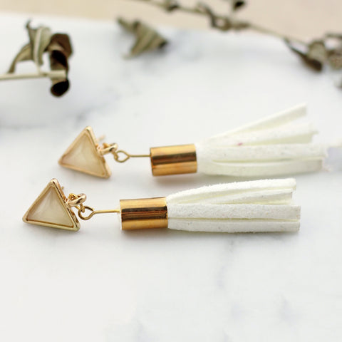 White tassel Drop Earring