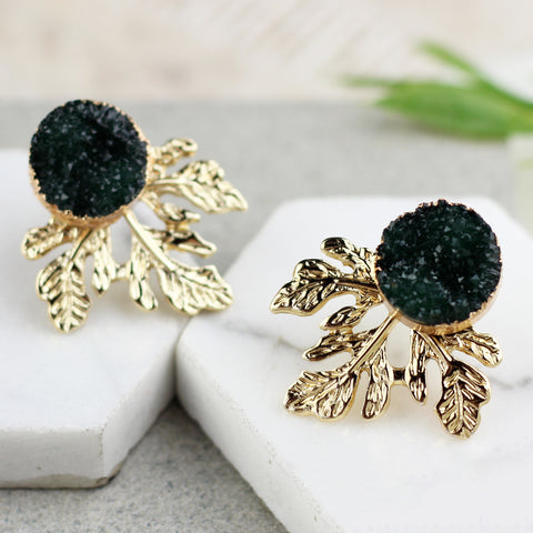 Leaf Druzy Dark Green Stud Earring