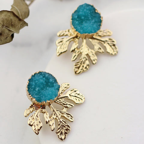 Leaf Druzy Sea Green Stud Earring