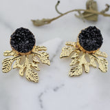 Leaf Druzy Black Stud Earring
