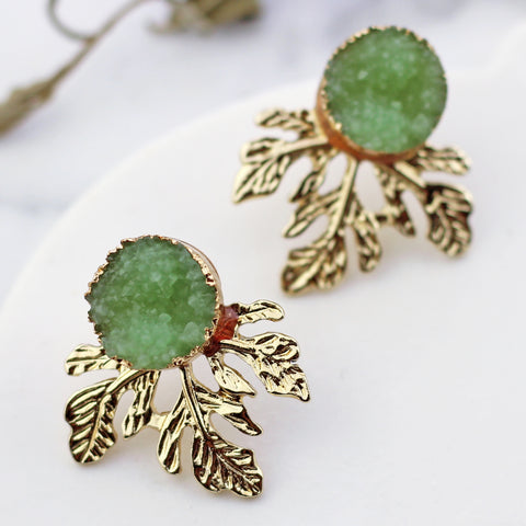 Leaf Druzy Light Green Stud Earring