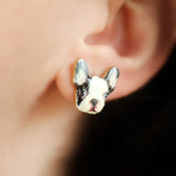 Boston Terrier Dog Stud Earring