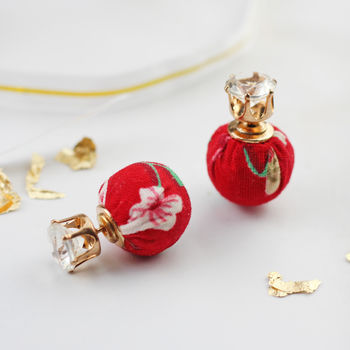 Red Floral Double Sided Earring