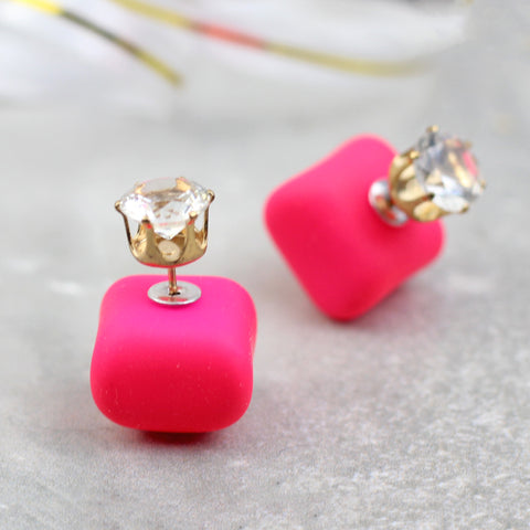 Shocking Pink Crystal Double Sided Earring