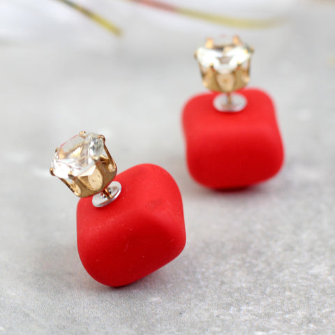 Red Crystal Double Sided Earring