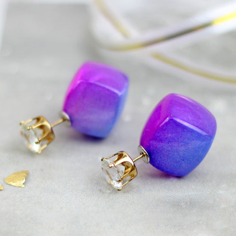 Two Tone Double Sided Light Purple Earrings