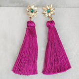 Flower Pink Tassel Earrings